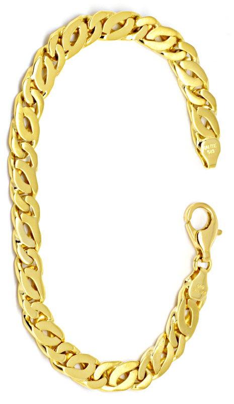 Foto 3 - Gold Armband Tigerauge Pfauenauge Teil Mattiert, Luxus!, K2165