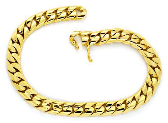 Foto 1, Gold-Armband massiv Gelbgold Flachpanzer gewölbt Luxus!, K2166