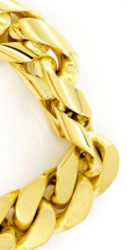Foto 2, Gold-Armband massiv Gelbgold Flachpanzer gewölbt Luxus!, K2166