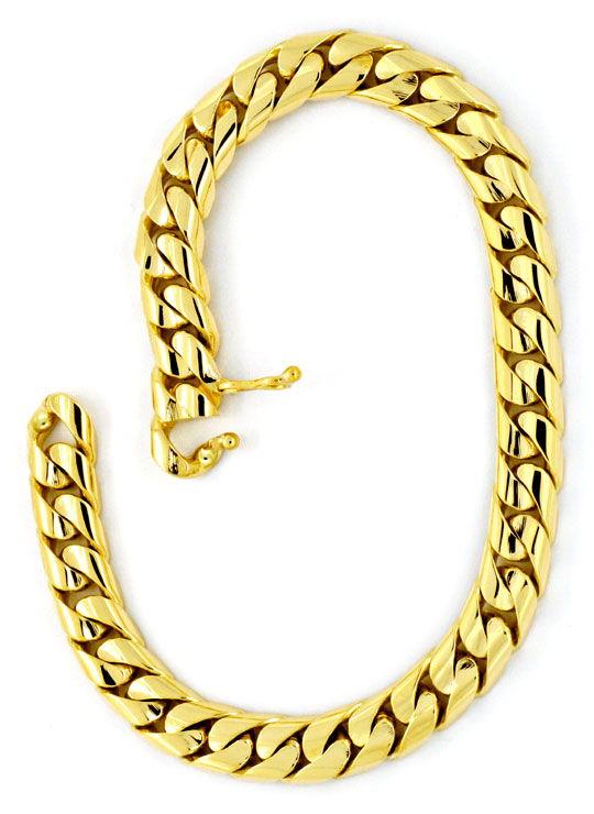 Foto 3, Gold-Armband massiv Gelbgold Flachpanzer gewölbt Luxus!, K2166