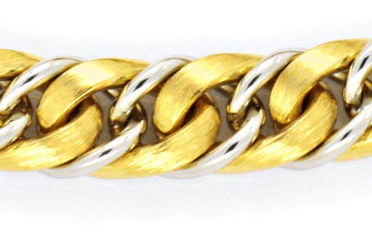 Foto 2, Design-Goldarmband massiv Rundpanzer Bicolor 18K Luxus!, K2168