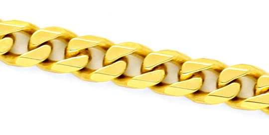 Foto 2, Massive Flachpanzer Gold-Kette Gelb-Gold 18K/750 Luxus!, K2170
