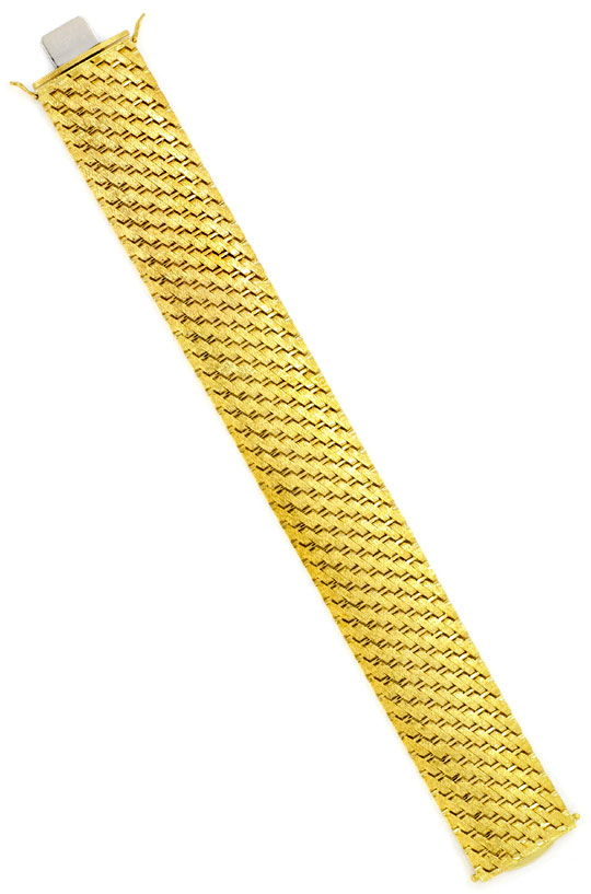 Foto 4, Design-Gold-Armband Gravurmuster in massiv 14K Gelbgold, K2171