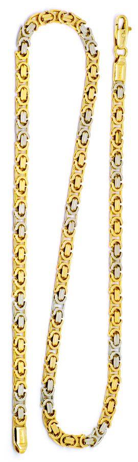 Foto 3 - Königskette Gold Kette massiv Gelbgold Weissgold Luxus!, K2175