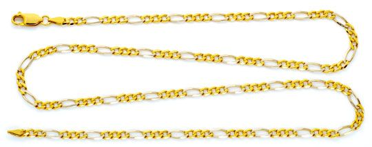 Foto 1 - Massive Gold Kette Figaro Gelbgold Weissgold 18K Luxus!, K2177