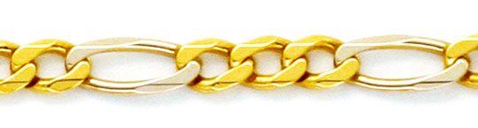Foto 2 - Massive Gold Kette Figaro Gelbgold Weissgold 18K Luxus!, K2177