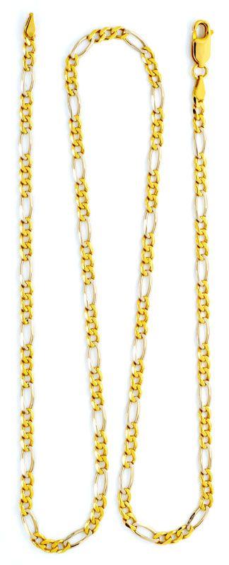 Foto 3 - Massive Gold Kette Figaro Gelbgold Weissgold 18K Luxus!, K2177