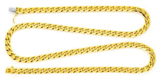 Foto 1, Flachpanzer Gold-Kette massiv 18K / 750 Gelbgold Luxus!, K2178