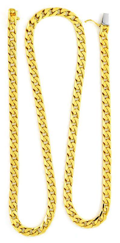Foto 3, Flachpanzer Gold-Kette massiv 18K / 750 Gelbgold Luxus!, K2178