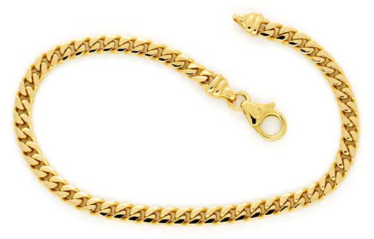 Foto 1, Massives gewölbtes Flachpanzer Gold-Armband, 14K Luxus!, K2179