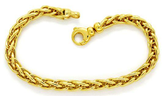 Foto 1, Zopf-Gold-Armband massiv Gelb-Gold 18K Karabiner Luxus!, K2180