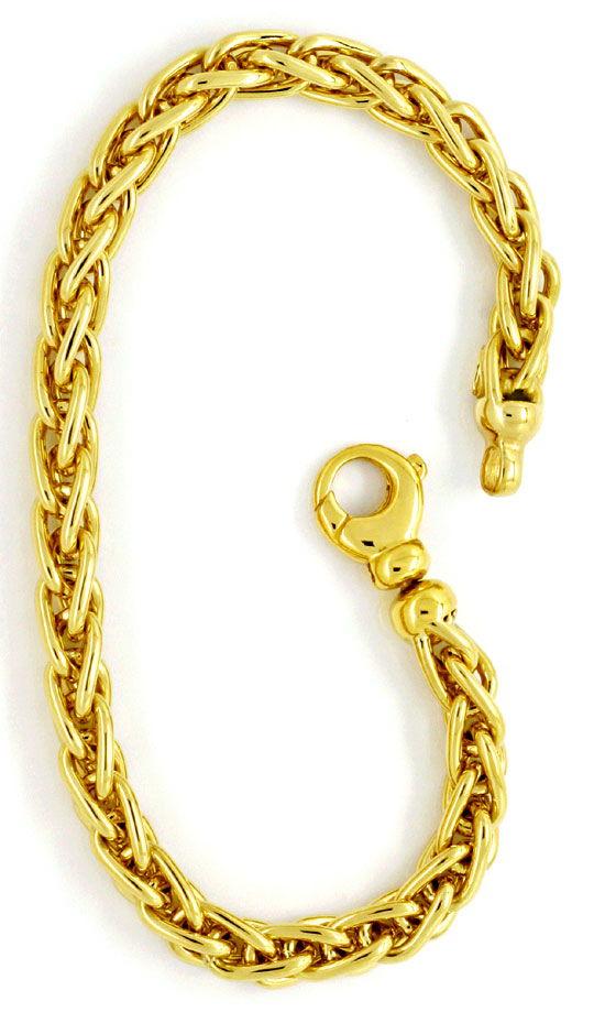 Foto 2 - Zopf Gold Armband massiv Gelb Gold 18K Karabiner Luxus!, K2180
