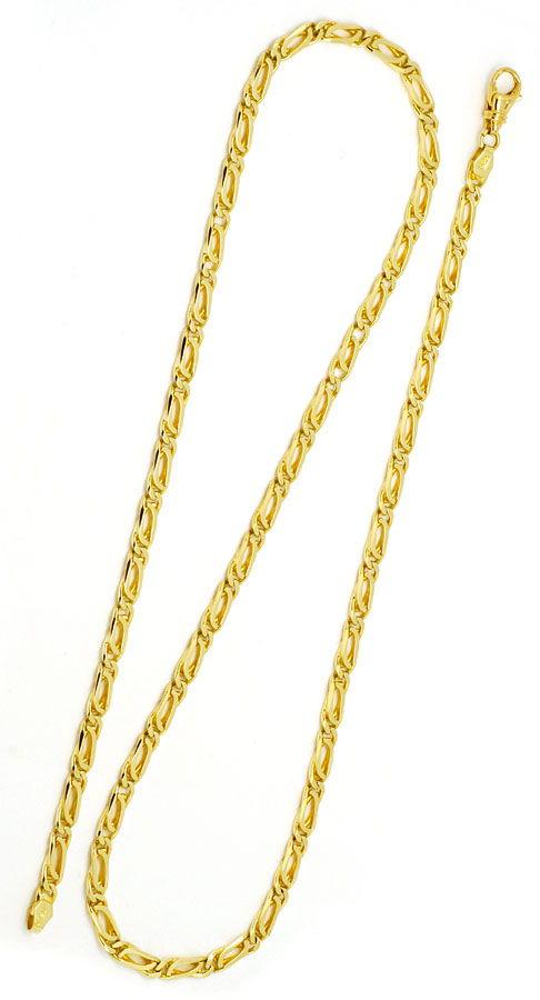 Foto 3, Pfauenauge Tigerauge Goldkette 14K Gelbgold Luxus! Neu!, K2181