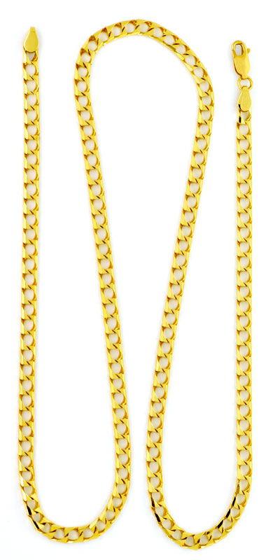 Foto 3, Flachpanzer Gold-Kette massiv Eckig 18K Gelbgold Luxus!, K2183