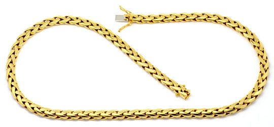 Foto 1, Schwere Zopf Gold-Kette massiv Gelb-Gold 18K/750 Luxus!, K2184