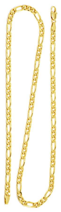 Foto 3 - Figaro Flachpanzer Goldkette in massiv 18K/750 Gelbgold, K2185