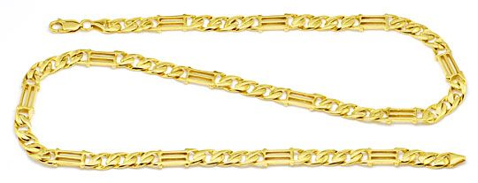 Foto 1, Tempel gewölbte Flachpanzer Goldkette massiv Luxus! Neu, K2186