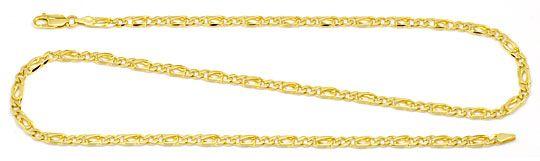 Foto 1, Figaro Flachpanzer Goldkette massiv 18K Gelbgold Luxus!, K2187