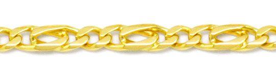 Foto 2, Figaro Flachpanzer Goldkette massiv 18K Gelbgold Luxus!, K2187