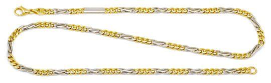 Foto 1, Flachpanzer gewölbt Fiagro Goldkette Gelbgold Weissgold, K2193