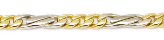 Foto 2, Flachpanzer gewölbt Fiagro Goldkette Gelbgold Weissgold, K2193