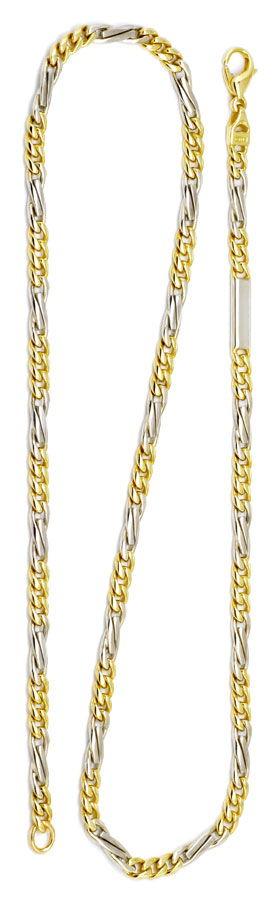 Foto 3, Flachpanzer gewölbt Fiagro Goldkette Gelbgold Weissgold, K2193