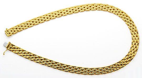 Foto 1, Backstein Kollier Goldkette massiv Gelbgold 18K/750 Neu, K2195