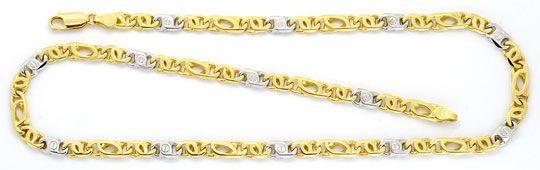 Foto 2 - Goldkette und Armband Set massiv 14K Gelbgold Weissgold, K2196