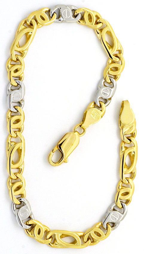 Foto 3 - Goldkette und Armband Set massiv 14K Gelbgold Weissgold, K2196