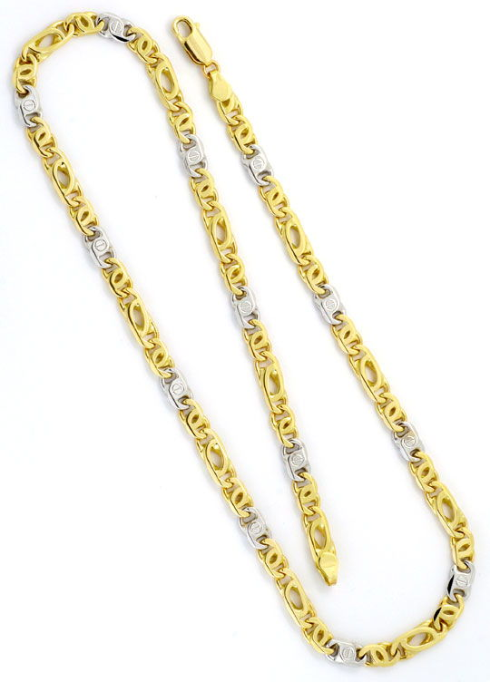 Foto 4 - Goldkette und Armband Set massiv 14K Gelbgold Weissgold, K2196