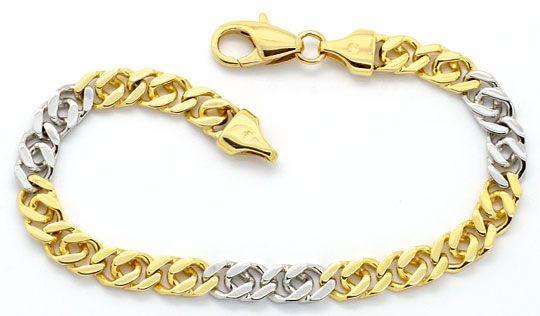 Foto 1, Goldkette und Armband Flach-Panzer Gelb-Gold Weiss-Gold, K2200