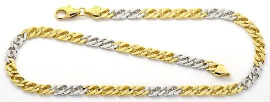 Foto 2, Goldkette und Armband Flach-Panzer Gelb-Gold Weiss-Gold, K2200