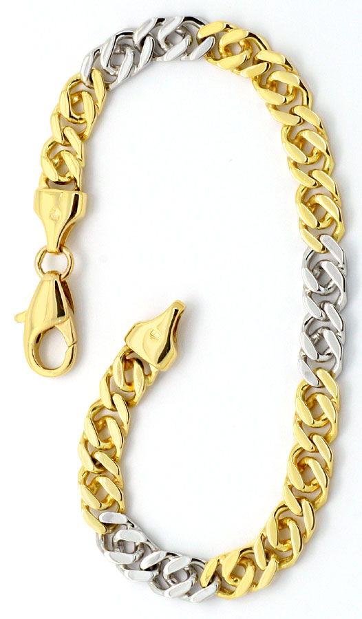 Foto 3, Goldkette und Armband Flach-Panzer Gelb-Gold Weiss-Gold, K2200