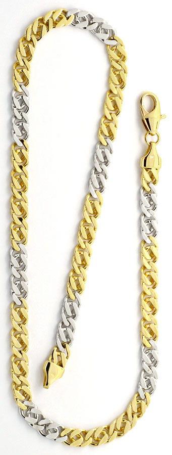 Foto 4, Goldkette und Armband Flach-Panzer Gelb-Gold Weiss-Gold, K2200