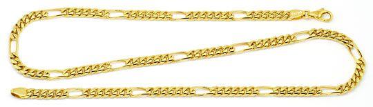 Foto 1, Figaro-Flachpanzer Goldkette gewölbt massiv Gold 14K585, K2201