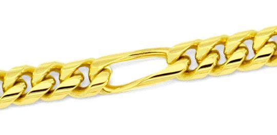 Foto 2, Figaro-Flachpanzer Goldkette gewölbt massiv Gold 14K585, K2201