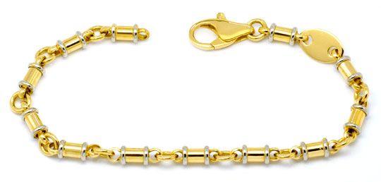 Foto 1 - Designer Goldarmband Gelbgold Weissgold Tönnchen Luxus!, K2202
