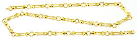 Foto 1, Designer Säulen Phantasie Goldkette massiv Gelbgold 14K, K2205