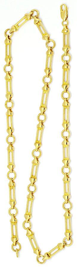 Foto 3 - Designer Säulen Phantasie Goldkette massiv Gelbgold 14K, K2205