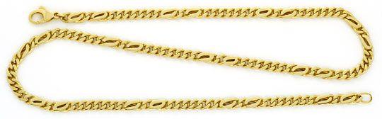 Foto 1, Flachpanzer-Goldkette, Pfauenauge und Tigerauge, massiv, K2209