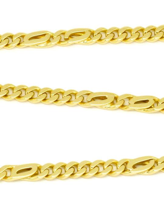 Foto 2, Flachpanzer-Goldkette, Pfauenauge und Tigerauge, massiv, K2209