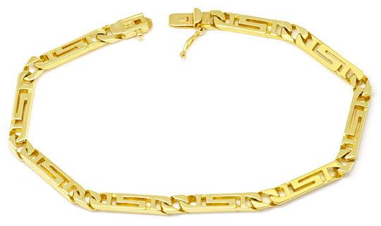 Foto 1, Designer Mäander Goldkette und Armband massiv Gelb-Gold, K2210