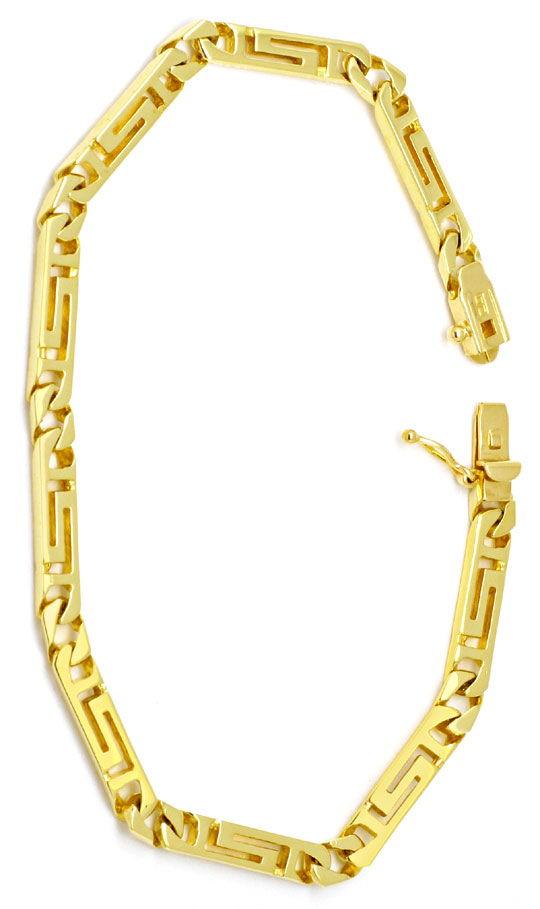 Foto 3, Designer Mäander Goldkette und Armband massiv Gelb-Gold, K2210