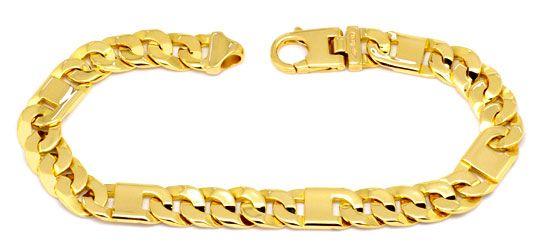 Foto 1, Designer Flachpanzer Goldarmband Querstegplatten Luxus!, K2211