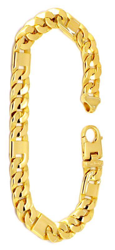 Foto 2 - Designer Flachpanzer Goldarmband Querstegplatten Luxus!, K2211