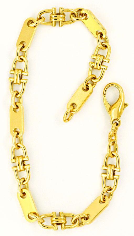 Foto 3 - Steigbügel Plättchen Anker Goldkette Armband massiv 14K, K2212