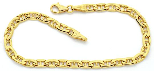 Foto 1, Flache Steganker Goldkette und Armband massiv Gelb-Gold, K2213