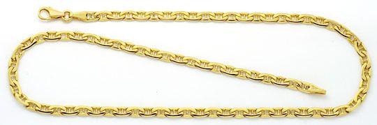 Foto 2, Flache Steganker Goldkette und Armband massiv Gelb-Gold, K2213