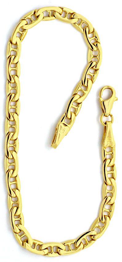 Foto 3, Flache Steganker Goldkette und Armband massiv Gelb-Gold, K2213