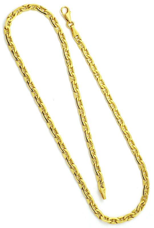 Foto 4, Flache Steganker Goldkette und Armband massiv Gelb-Gold, K2213
